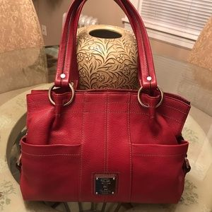 Tignanello Red Leather Satchel Good Condition!